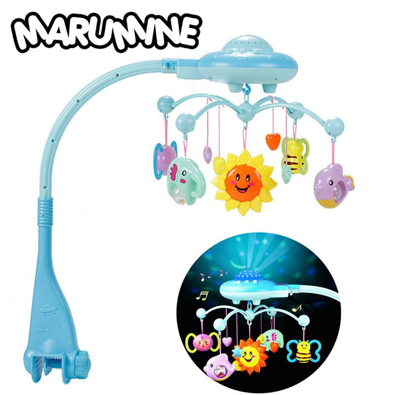 Marumine Baby Rattles Mobiles Toy Holder Rotating Crib Bed <font><b>Bell</b></font> With 50 Music Projection For 0-12 Months Newborn Infant