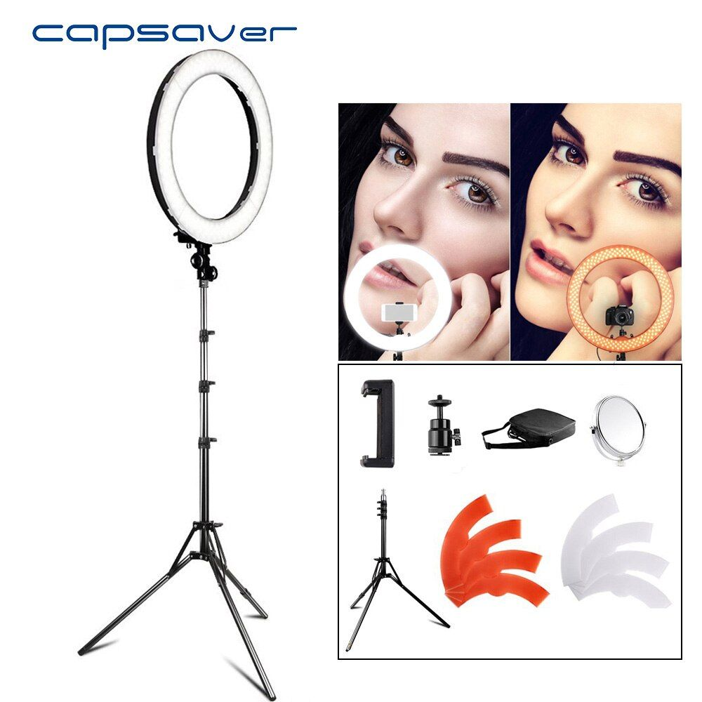 capsaver RL-18 LED Ring Light 18 inch Makeup Lamp with Tripod Mirror High CRI LED 5500K Camera Photo Youtuber Studio Video Lamp