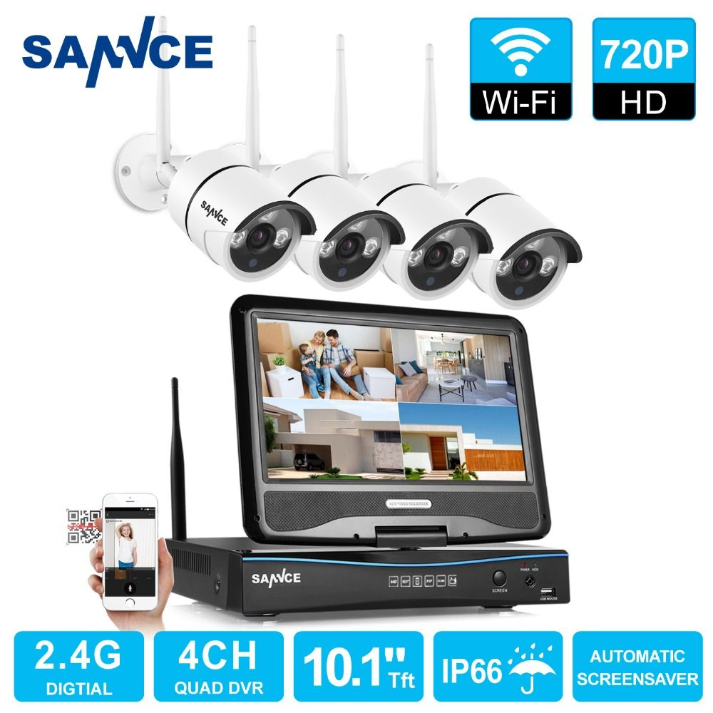 SANNCE 4 Channel Wifi 720P ip camera NVR CCTV Wireless Camera System 4CH wifi NVR kit wifi NVR kits CCTV kit 1TB HDD