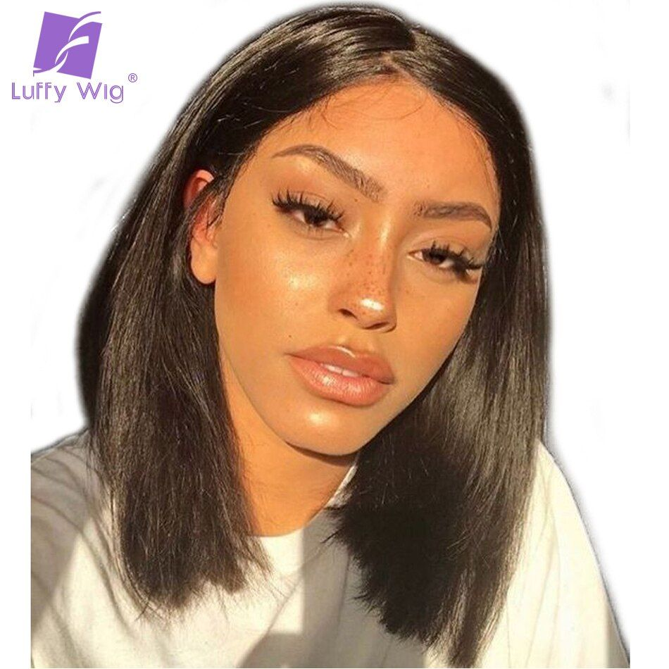 Luffy 13x6 Short Bob Cut <font><b>Human</b></font> Lace Front Wigs Pre Plucked Deep Part Frontal Peruvian Straight Black Non-remy Hair For Women