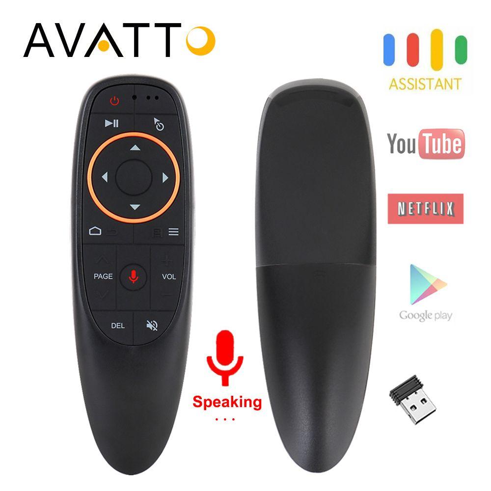 AVATTO G10 voix Air souris avec USB 2.4GHz sans fil 6 axes Gyroscope Microphone IR télécommande pour Android tv Box, ordinateur portable, PC