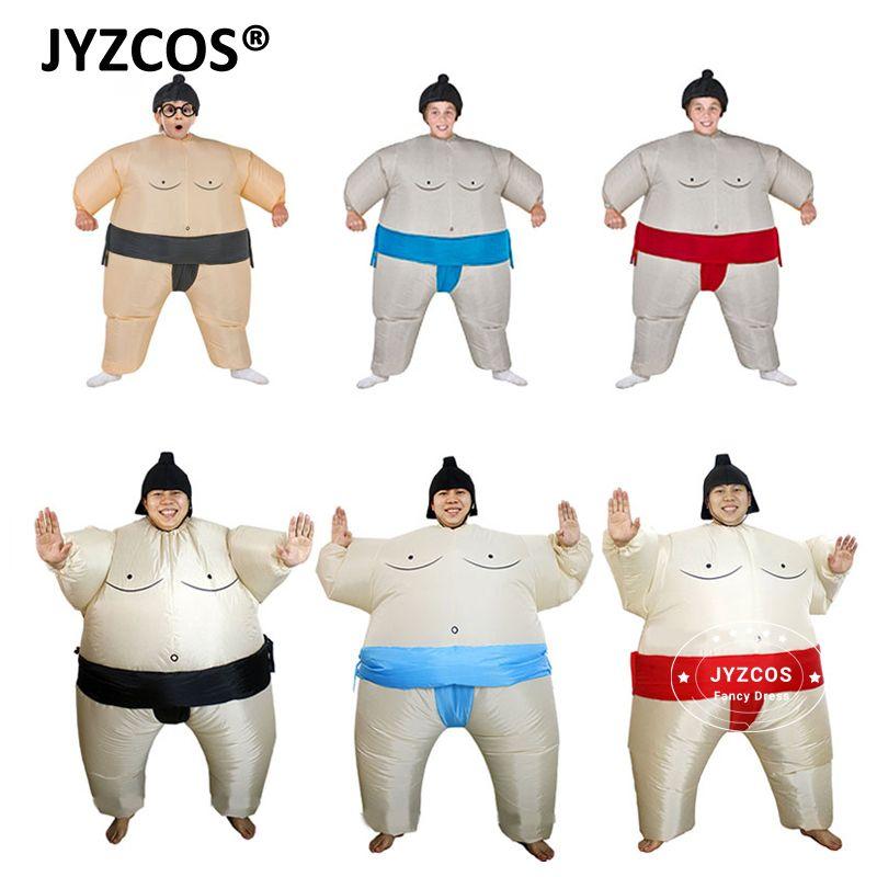 JYZCOS Purim Inflatable Sumo Costume Suits Wrestler Halloween Costume for Boys Girl Men Women Adults Kids Fat Man Airblown Sumo