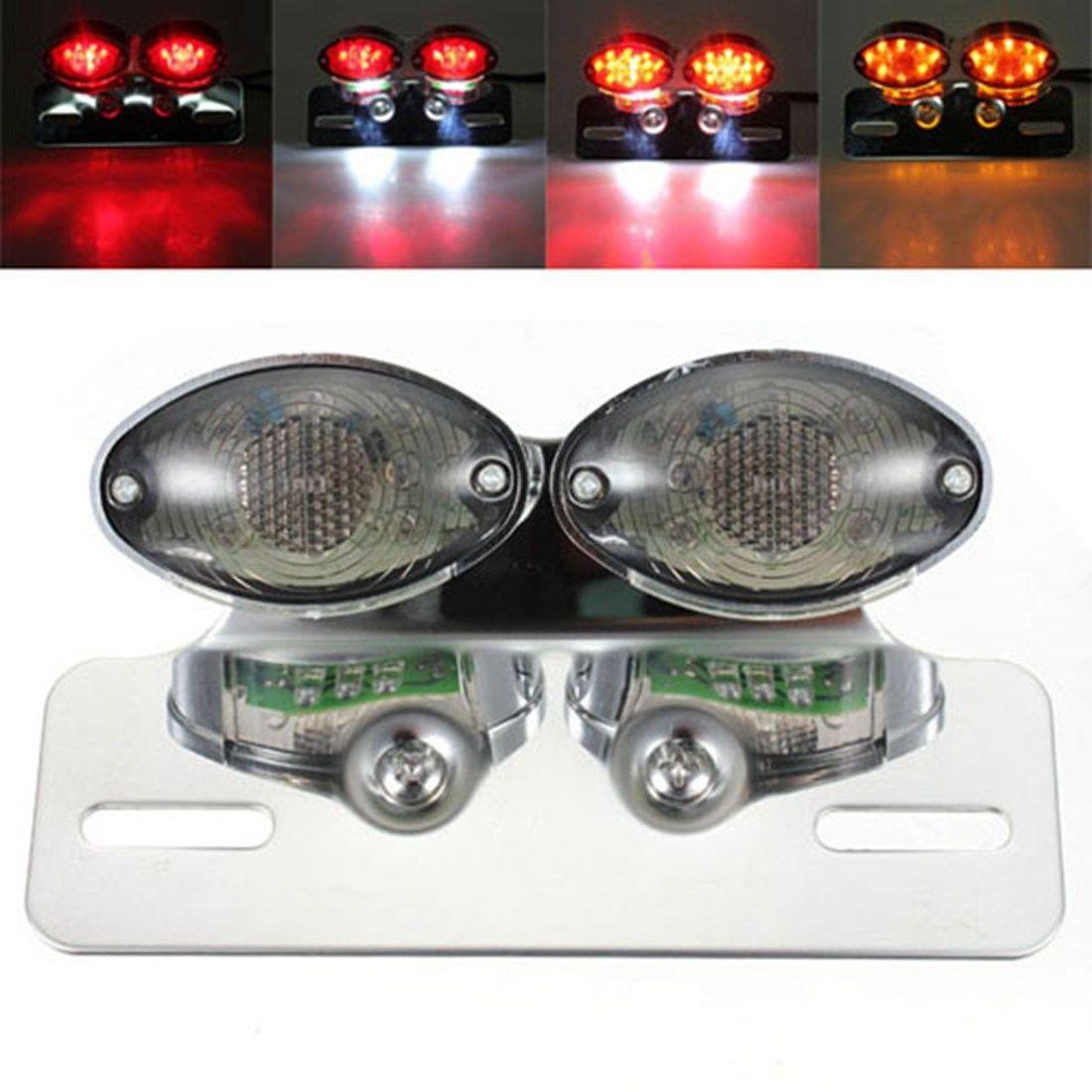 Smoked LED Cat Eye Turn Signal License Plate Brake Tail Light Motorcycle ATV