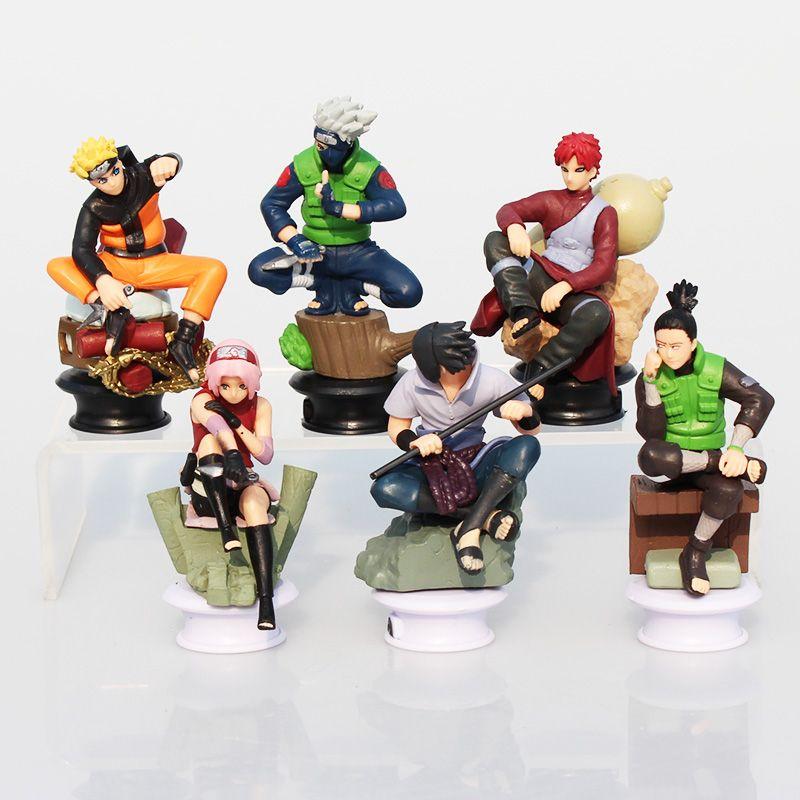 6Pcs/Set Naruto Uzumaki Naruto Uchiha Sasuke Kakashi Sakura Gaara Action Figures Toys PVC Dolls 7~10cm Great Gift