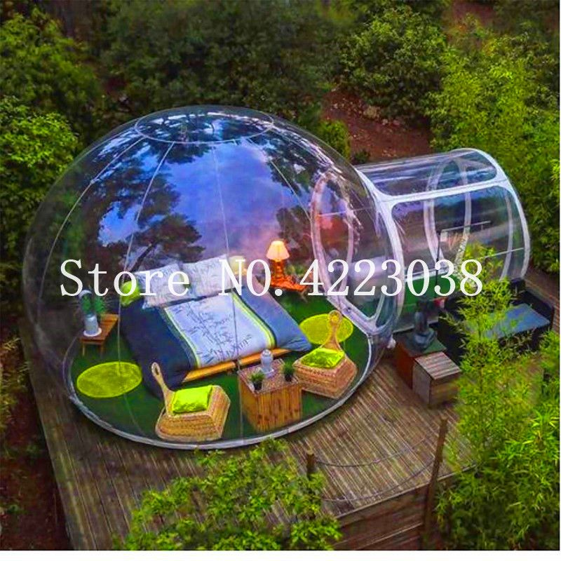 Free Shipping Dia 3.8m+1.5m tunnel luxurious Outdoor Single Tunnel Inflatable Bubble Tent Family Camping Backyard Transparent