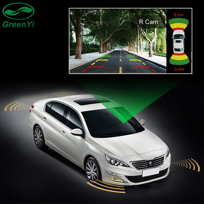 GreenYi 2 Video Input Car Parking Sensor System, Dual Channel for Front and Rear Camera Monitor DVD Player with 8 Sensors