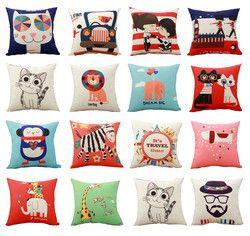 Cheap Price Cute Cartoon Animals Printed Cushion Cover Throw Pillowcase Car Sofa Pillow Cover Outdoor Chair Waist Cushions Case
