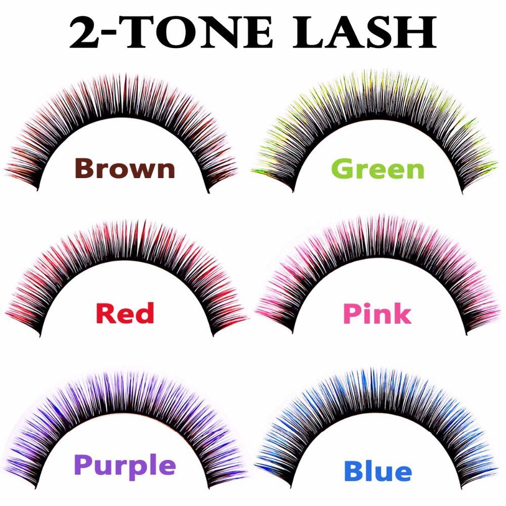 Extensions de cils bicolores de luxe cils vert rose violet brun rouge bleu pour le maquillage des yeux des femmes