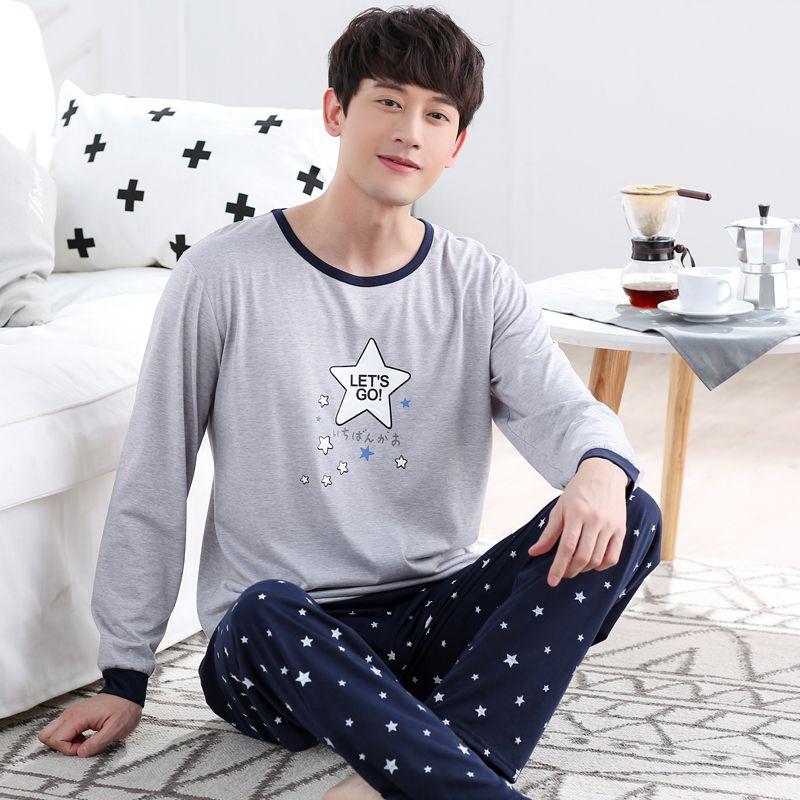 HomeThin WAVMIT Pijamas para hombres Otoño Invierno de Manga Larga de Algodón A Cuadros para Hombres Pijamas Conjuntos Salón Pijama Más El Tamaño 3XL Ropa de Dormir conjuntos