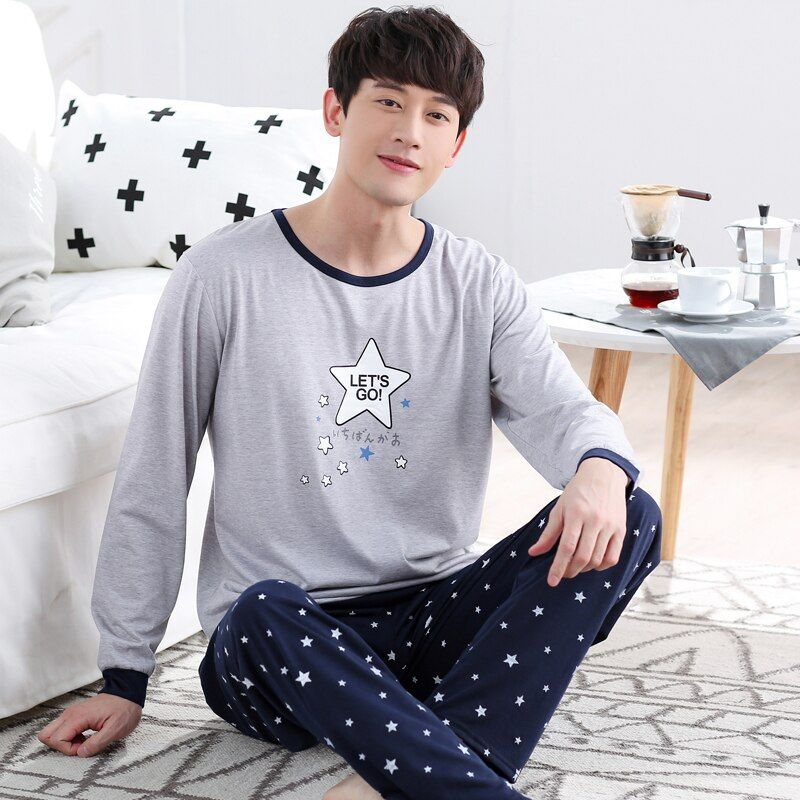 WAVMIT Men's Pajamas Autumn Winter Long Sleeve HomeThin Cotton Plaid Pyjamas Men Lounge Pajama Sets Plus Size 3XL Sleepwear Sets