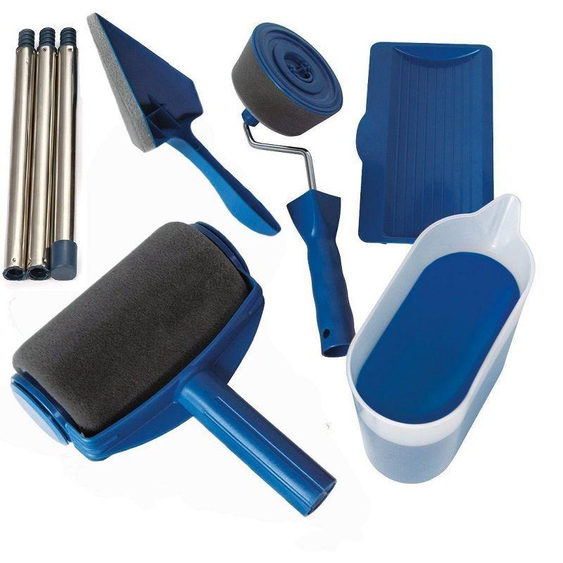8 pièces peinture pour travaux manuels rouleau brosse outils ensemble usage domestique mur poignée décorative floqué Edger outil peinture brosse avec couture