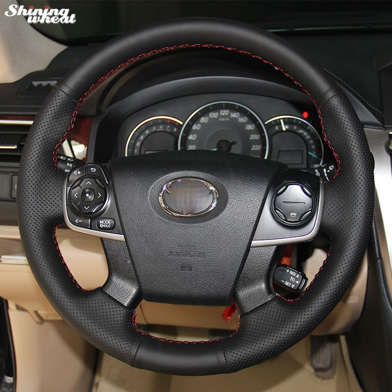 Shining wheat Hand-stitched Black Leather Steering Wheel Cover for Toyota Camry 2012-2015