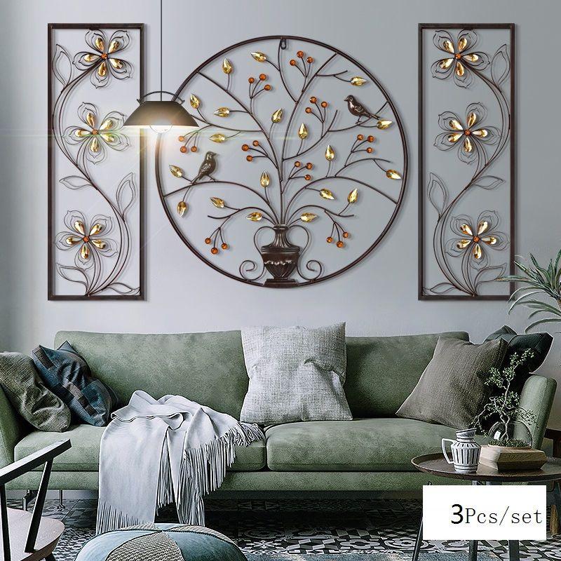 3D Stereo Blume Vogel Eisen Wandbehang Wand Einrichtungs Handwerk Hause Wohnzimmer Hintergrund Wand Zubehör Dekoration R1199