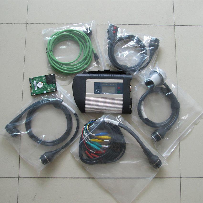 Mb-stern c4 multiplexer mit 5 kabel neueste software hdd wotks für 95% laptops für auto und lkw diagnose-tool 2 jahre garantie