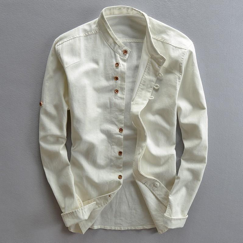 Homme Coton Lin Chemises À Manches Longues décontracté Mince Col Mao Chemises De Haute Qualité Hommes D'affaires Chemises Habillées En Coton TS-187