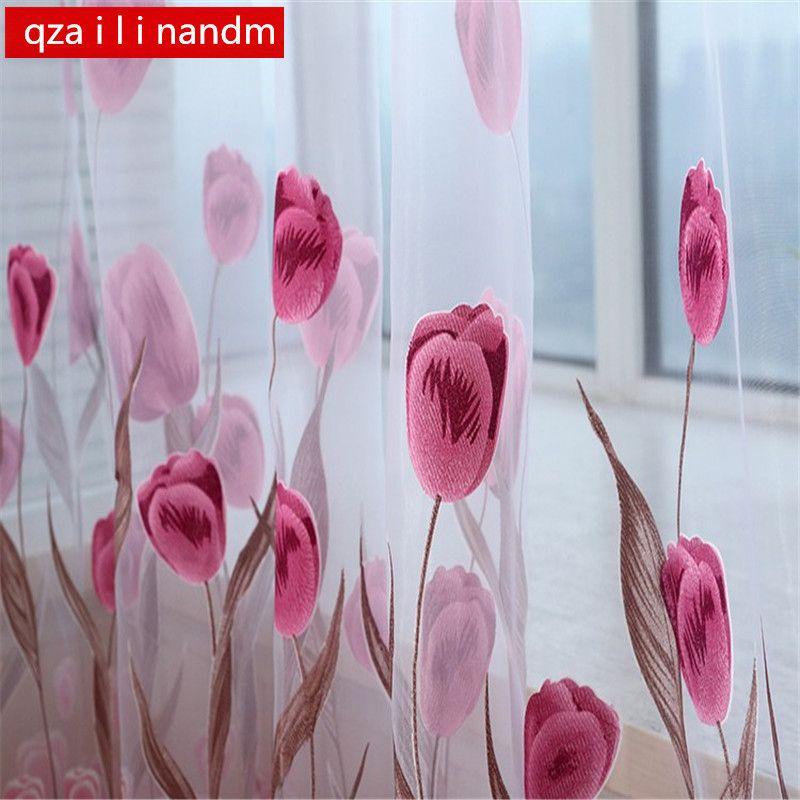 Meilleur décor à la maison rideaux rideaux de fenêtre transparente pour salon la cuisine de la chambre moderne tulle rideaux tulipe tissu stores