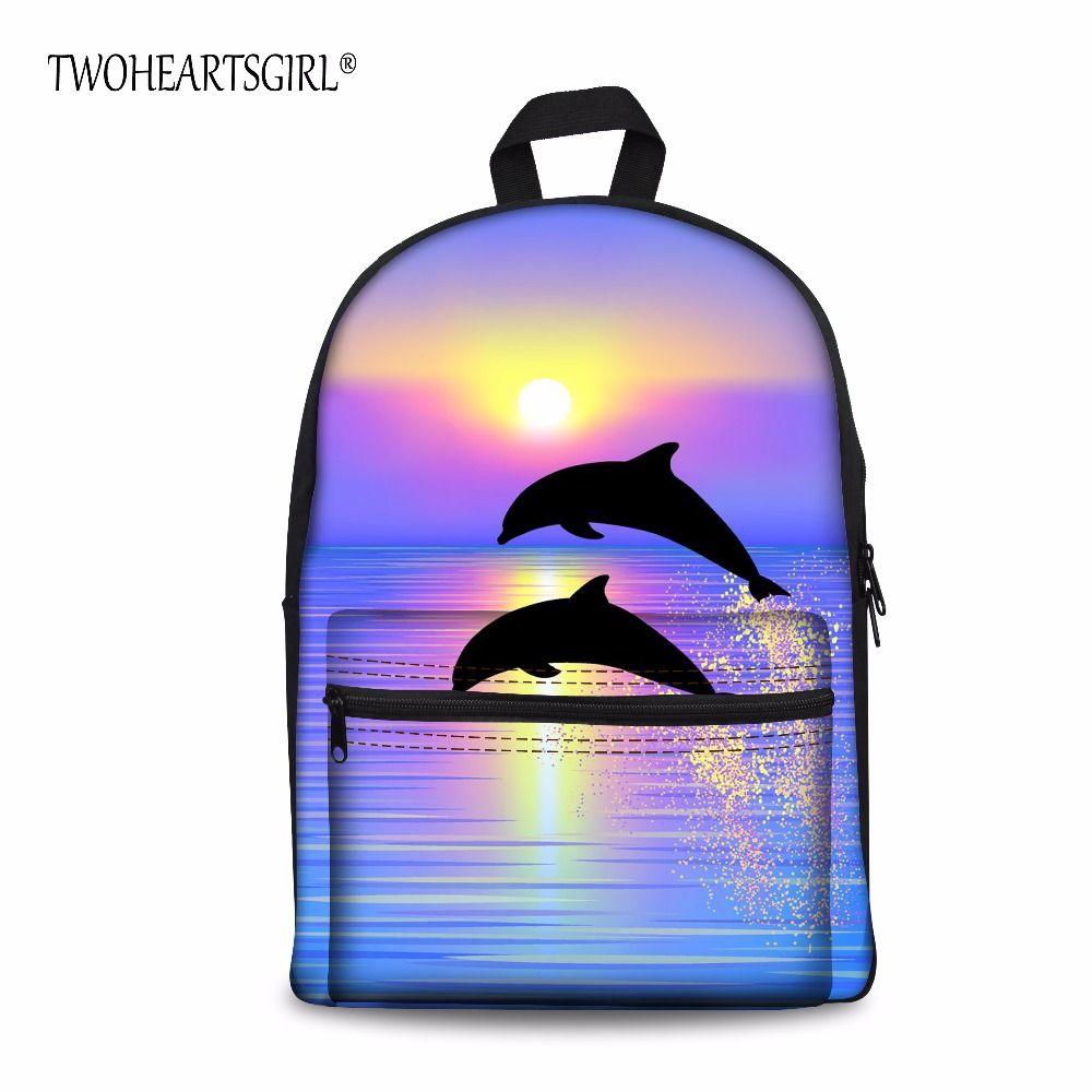 TWOHEARTSGIRL Children Polyester Backpack with Solid Bag Dolphins Sharks Pattern Daypack Student Travel Infantry Pack Custom