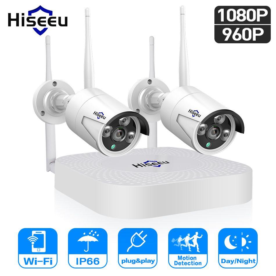Hiseeu wifi home security kamera system wifi 4CH 1080 P CCTV NVR Kit 2 stücke 960 P/1080 P drahtlose video überwachung IP kamera system
