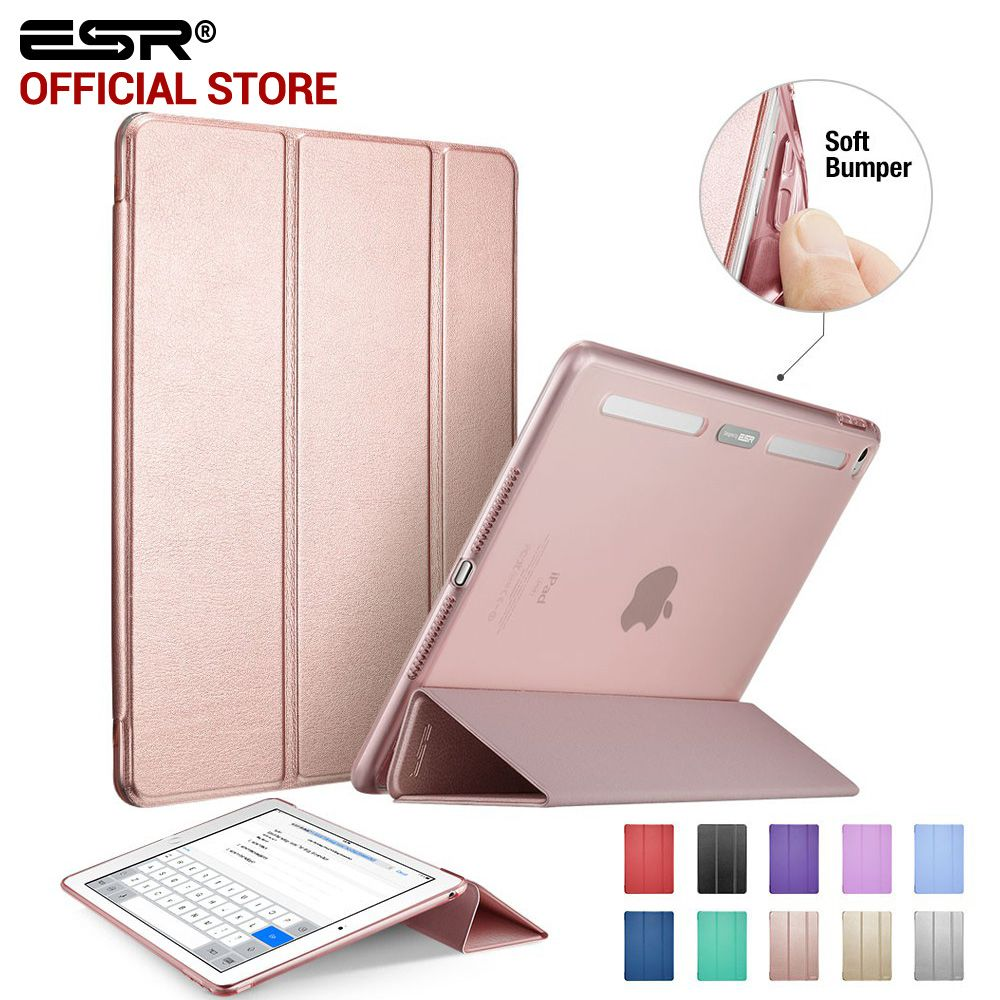 Case for iPad Air 2, ESR PU Leather Front Cover+Soft TPU Bumper Edge <font><b>Stand</b></font> color Auto Sleep Smart case for iPad Air 2 for iPad 6