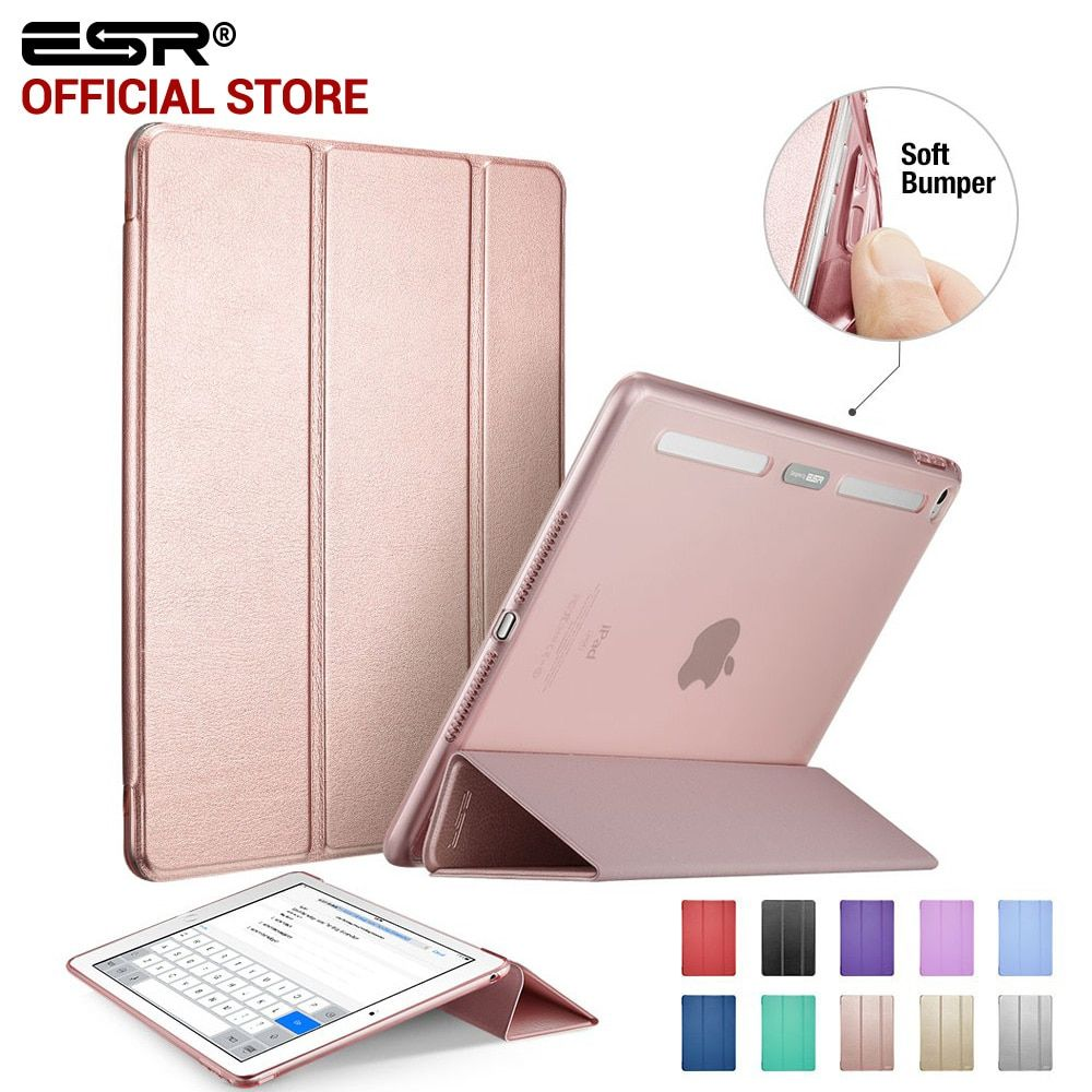 Case for iPad Air 2, ESR PU Leather Front <font><b>Cover</b></font>+Soft TPU Bumper Edge Stand color Auto Sleep Smart case for iPad Air 2 for iPad 6