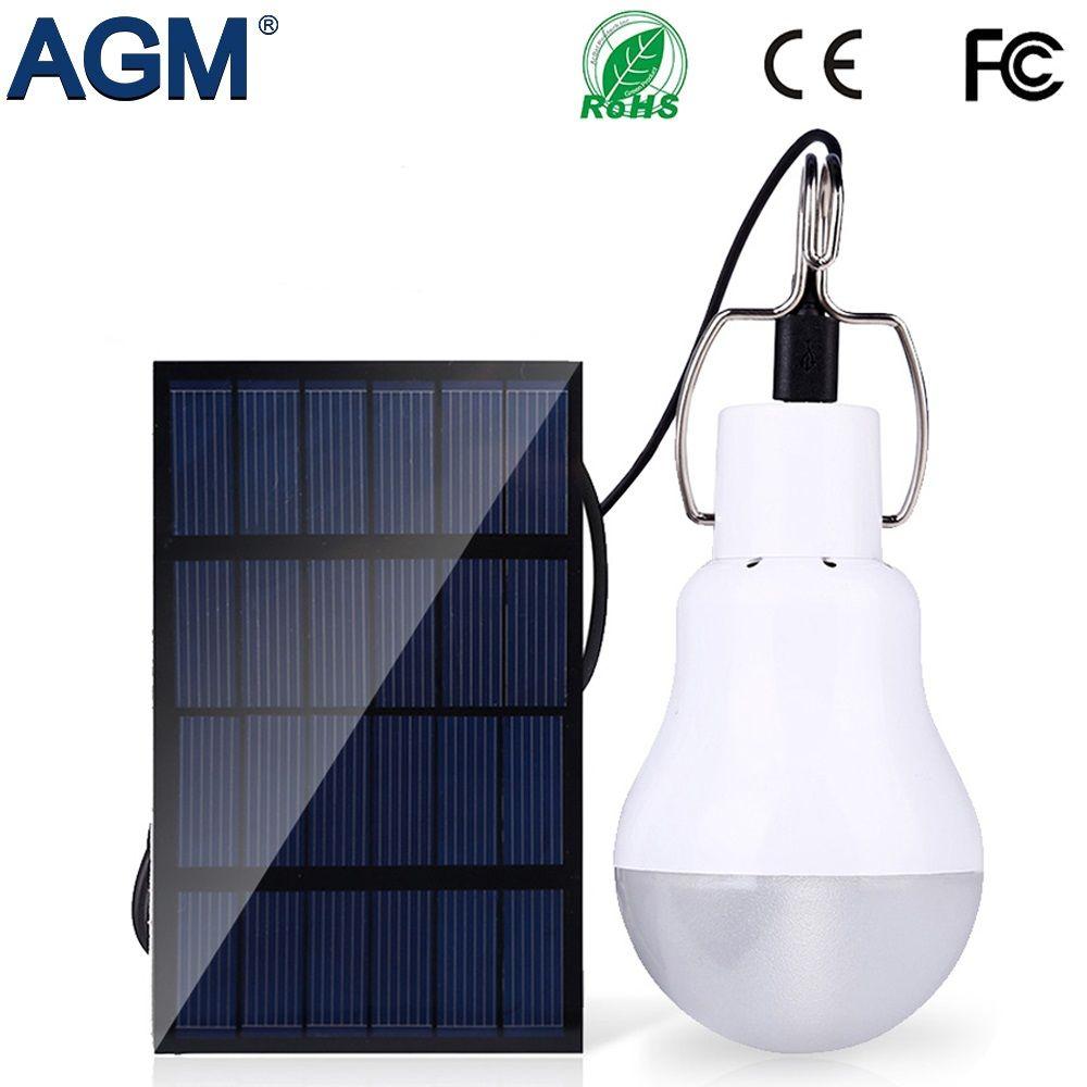 AGM LED Solar Power Lumière Lampe Portable Led Ampoule Luminaria Tente lampe de Poche Solaire D'énergie Panneau Extérieur Lumière Solaire De Jardin Camping