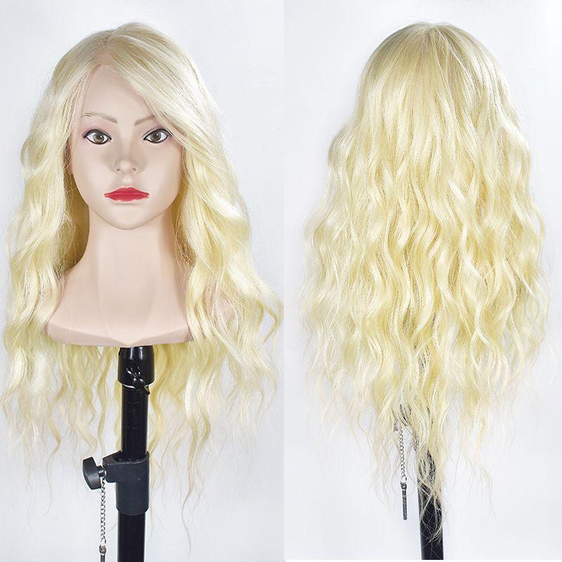 Weibliche 70 cm Haar Ausbildung Kopf Mit Schultern Blonde Haar Nizza Gesicht Frisuren Dummy Puppe Mannequin Kopf Für Friseur