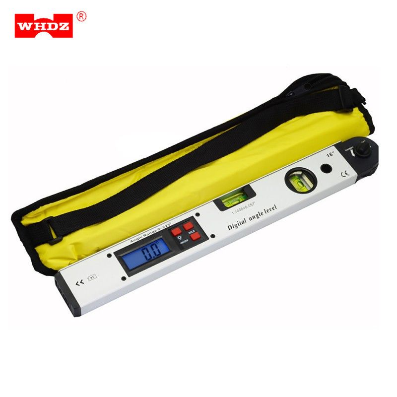 WHDZ Digital Protractor Angle Finder Meter Level Electronic 360 Degree Spirit Inclinometer Slope Tester Ruler 400mm/16inch