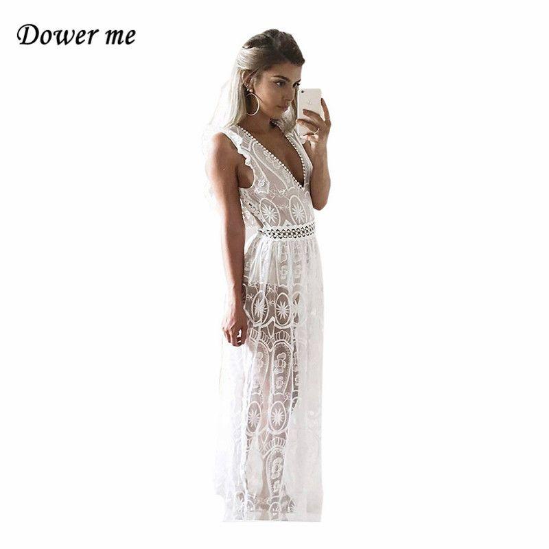 Sexy Hollow Out Backless Women Party Dress Vestidos Female Elegant Lace Split Long Dress Charming Deep V-neck Frocks YN2994
