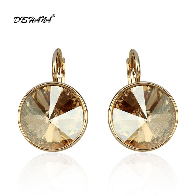 Boucles d'oreilles en forme de boucles d'oreilles pour femmes avec pierres, élégantes, couleur or, 100%, cristaux autrichiens, boucles d'oreilles en forme de goutte E0098
