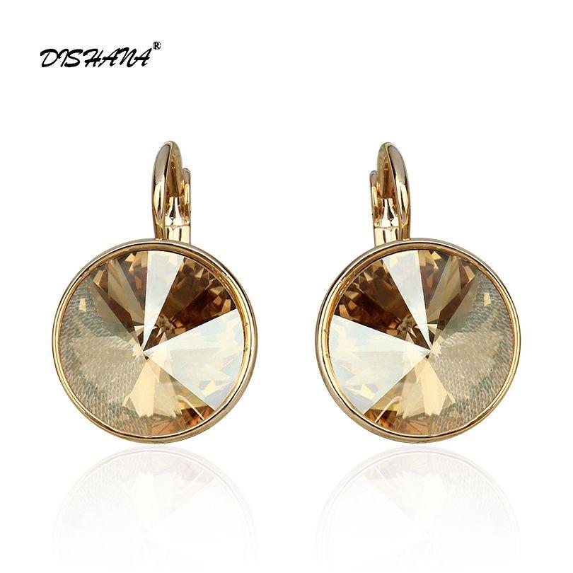 Nouvelles femmes balancent boucle d'oreille avec des pierres élégant couleur or 100% cristaux autrichiens boucle d'oreille bijoux boucles d'oreilles goutte E0098
