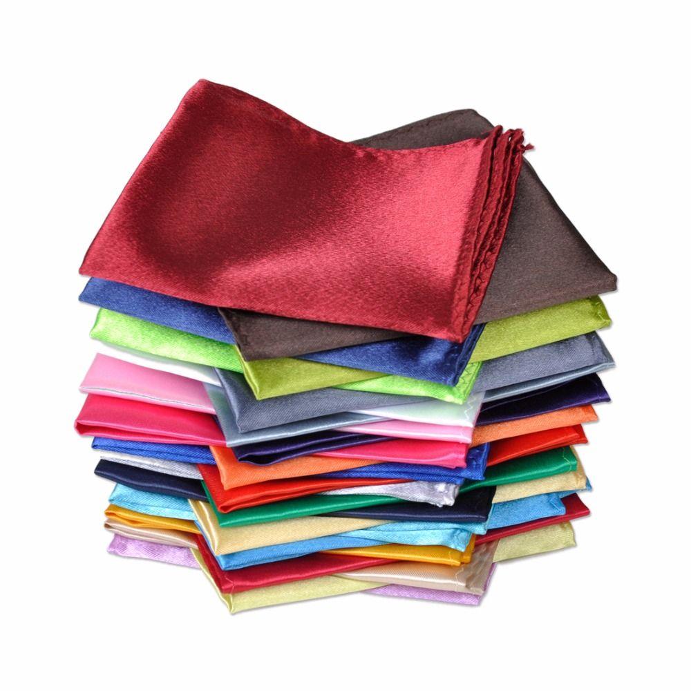 CiciTree 26 pièces/ensemble nouveau Polyester soie satin hommes mouchoir poche carré uni couleur unie pour fête de mariage costume formel Hanky