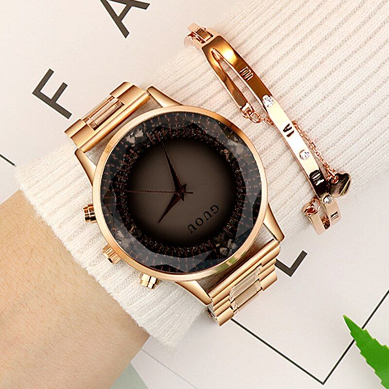Women's Watches Rose Gold Stainless Steel Watch Diamond GUOU Fashion Ladies Watch Luxury Reloj Mujer Clock Women relogios saat