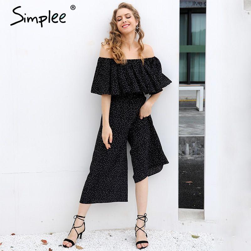 Simplee Elegant ruffle dot long jumpsuit romper Women off shoulder loose chiffon casual playsuit Summer 2017 high waist overalls