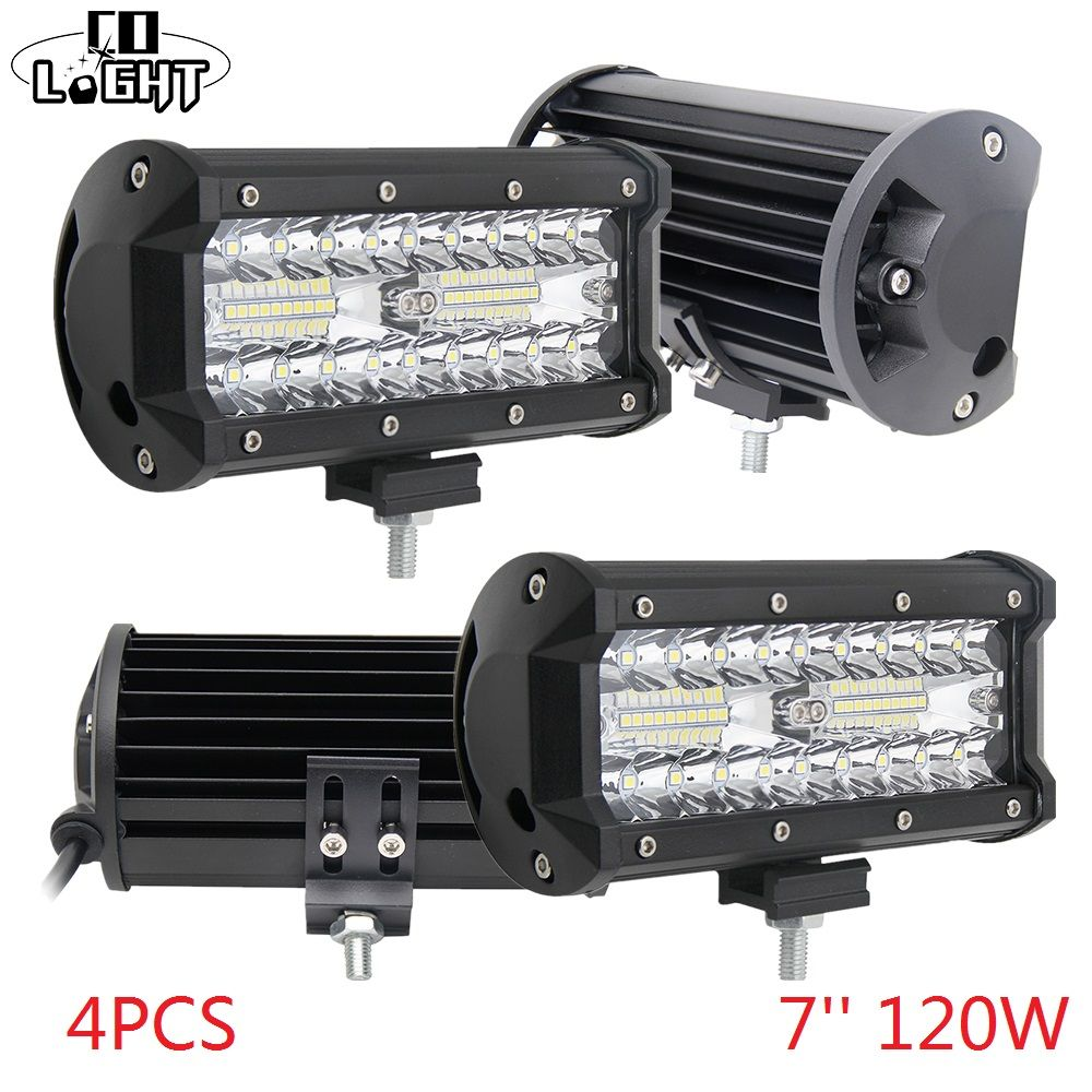 CO LIGHT Led Bar Off Road 120W Led Work Light 12V Spot Flood Lights for Auto 4X4 Jeep Wrangler Lada Niva Tractor 4X4 Accessories