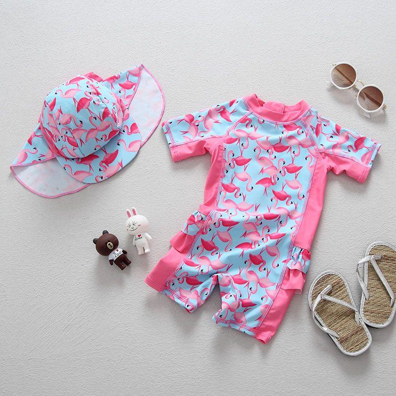 Mädchen Schwimmen Tragen Top Qualität UPF50 + Sonnencreme Kinder Badeanzug für Mädchen Cartoon Flamingo Muster Wenig Kind Bademode Bademode