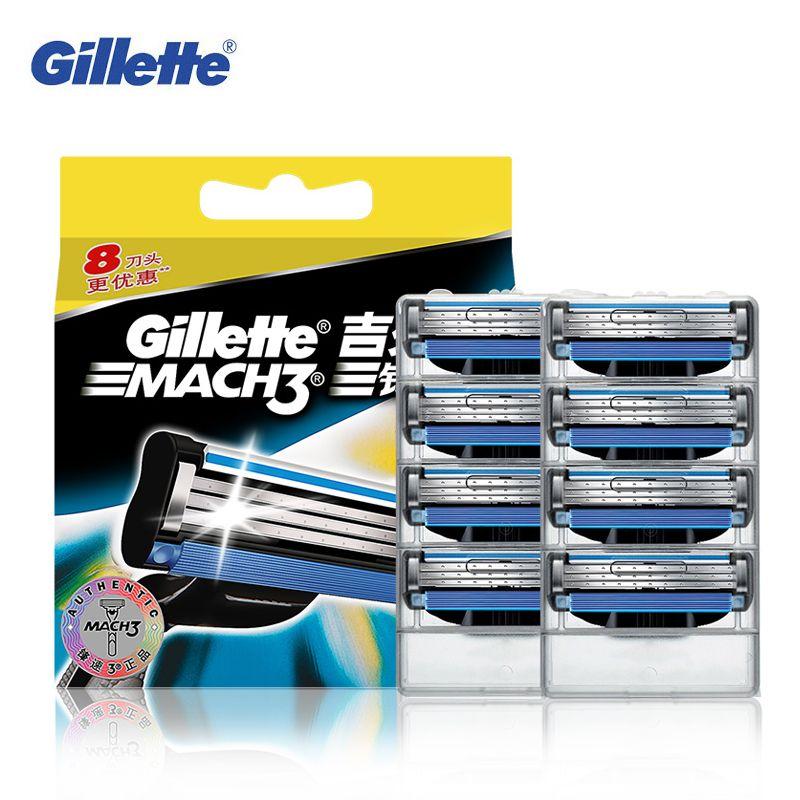Véritable Gillette Mach 3 Rasage Lames de Rasoir Pour Hommes Marque La Lame À Raser Avec 8 Lames