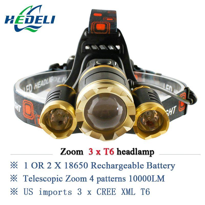 10000 люмен светодиодный налобный фонарь 3T6 головы фонарик CREE XML T6 Фара Водонепроницаемый фары 18650 аккумулятор