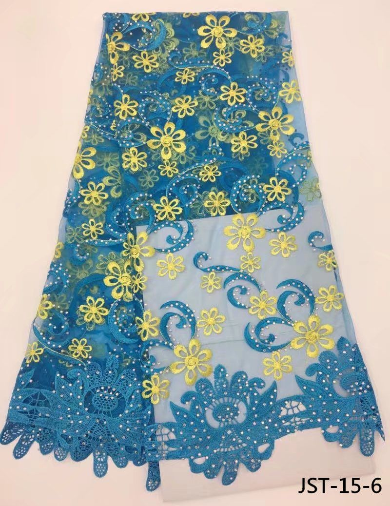 Dreamlike design african french lace fabric with gorgous stones embroidery tulle lace fabric 5 yards per lot JST-15