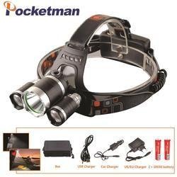 LED Headlight 12000 Lumen 3 x XML T6 LED Kepala Lampu Senter led headlamp memilih baterai charger untuk berkemah/berburu/memancing
