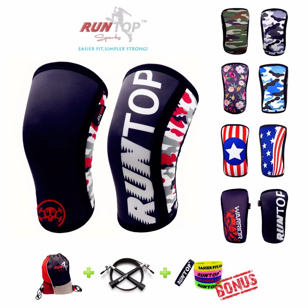 RUNTOP 7mm Neoprene Knee Sleeves Crossfit WODS Squats <font><b>Weight</b></font> Lifting Powerlifting Fitness Knee Pad Support Brace Cap Compression