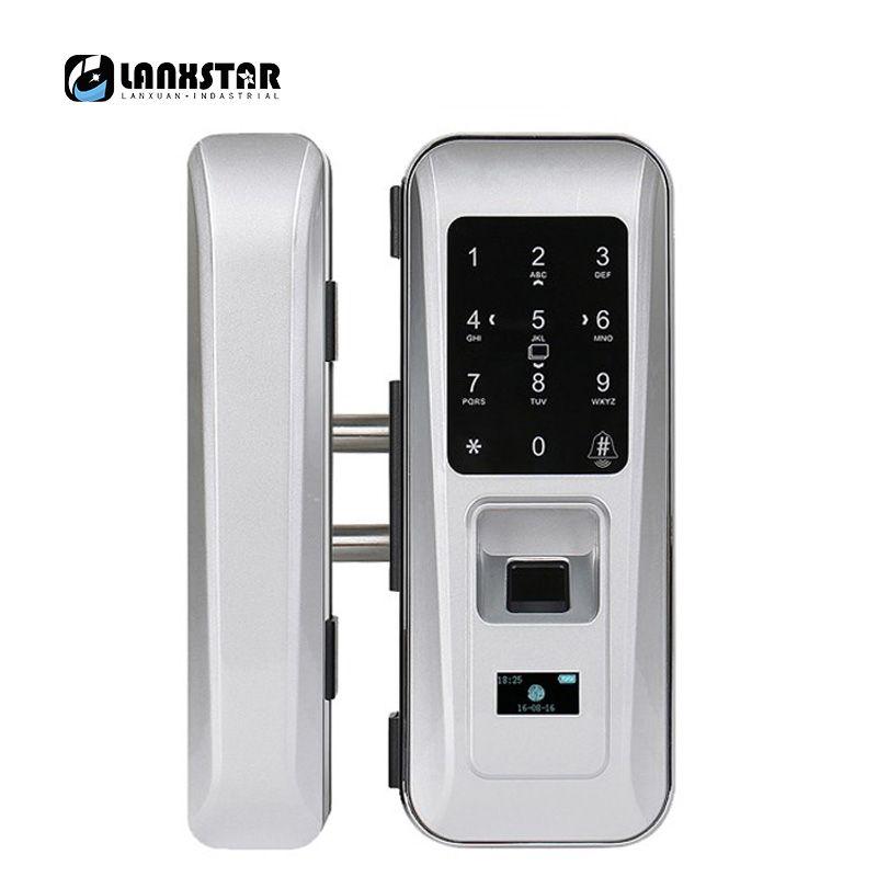 LANXSTAR Glastürschloss Büro Schlüssellose Smart Fingerprint-sperre Touch Tastatur Smart Card Fernbedienung Intelligente Türschloss
