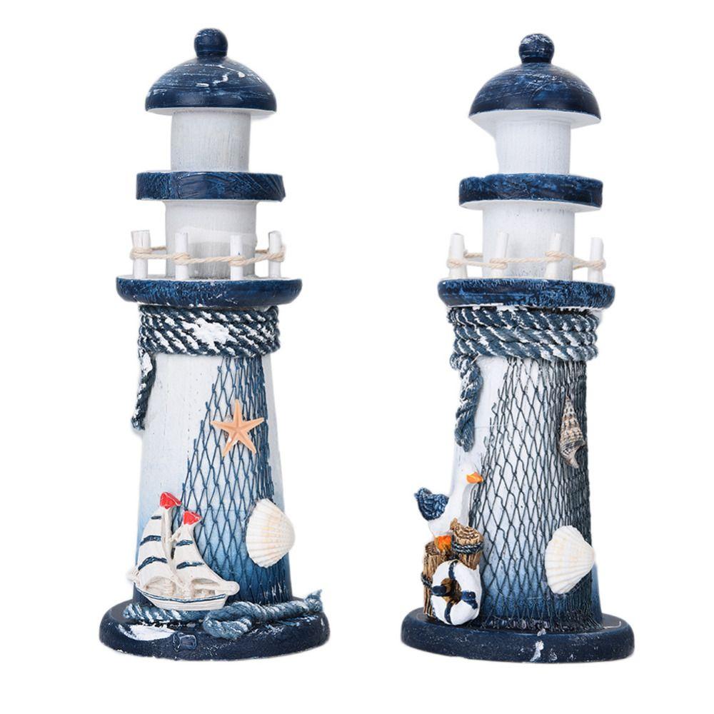 DIY деревянный Морской Маяк Средиземноморский Стиль Бытовая украшения Рыболовные сети Чехол Air чистки Маяк Декор завесы
