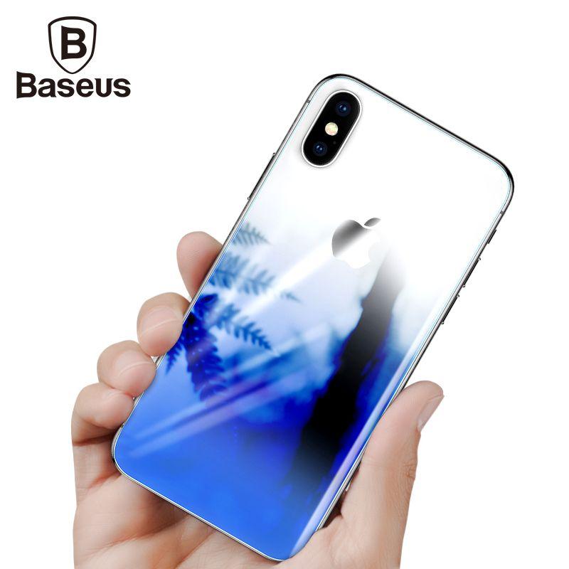 Baseus Retour Écran Protecteur En Verre Trempé Pour iPhone 10 Ultra Mince Gradient Anti Scratch Arrière Trempé Verre Film Pour iPhoneX