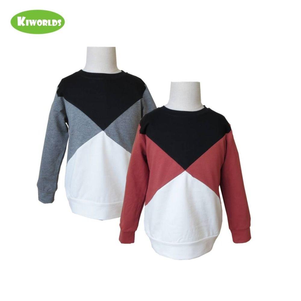2018 Printemps Vente Chaude Coton À Manches Longues Garçons et Filles T-Shirt avec joint Fendu Blanc Noir et rouge et gris garçons vêtements