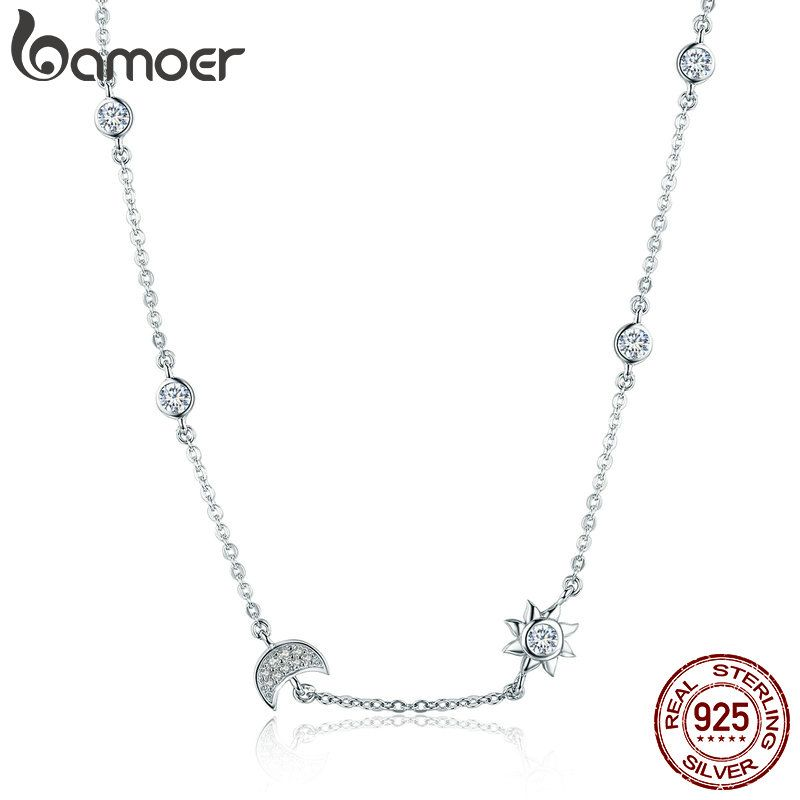 BAMOER 100% 925 Sterling Silver Sparkling Moon and Star Exquisite Pendant Necklaces for <font><b>Women</b></font> 925 Silver Jewelry Gift SCN272