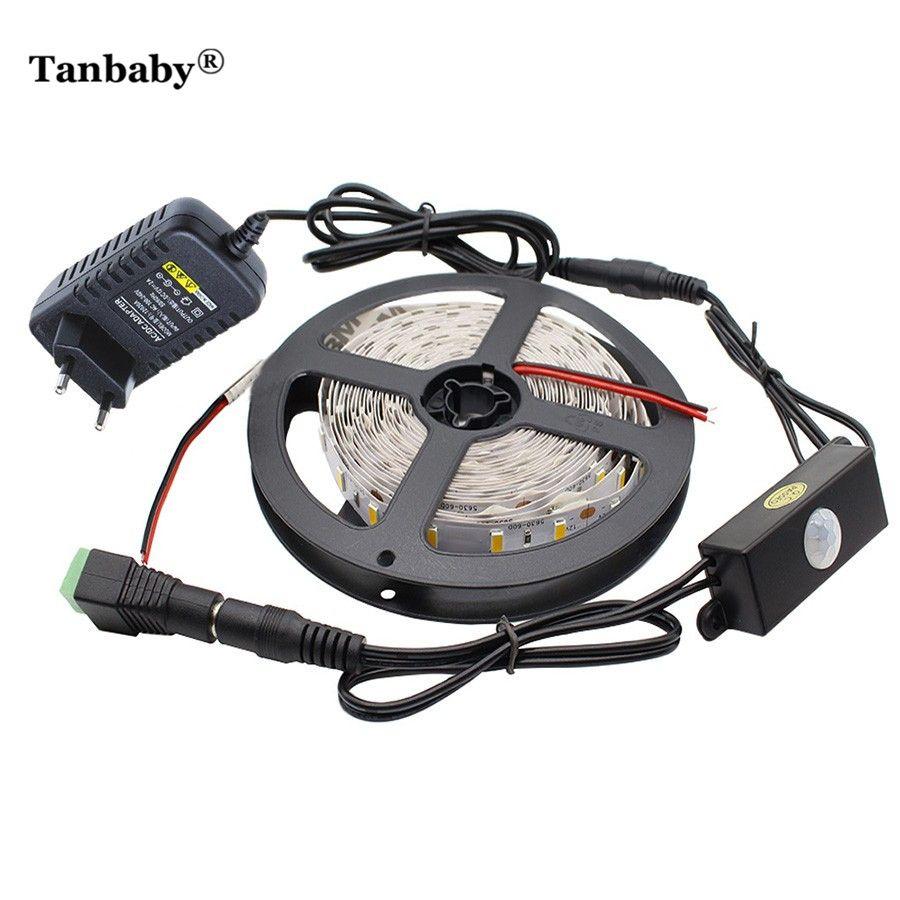Tanbaby 5M 5630 DC 12V LED Strip Light PIR Motion Sensor Switch Flexible Adhesive LED Tape Non-waterproof 12V 2A Power Adapter