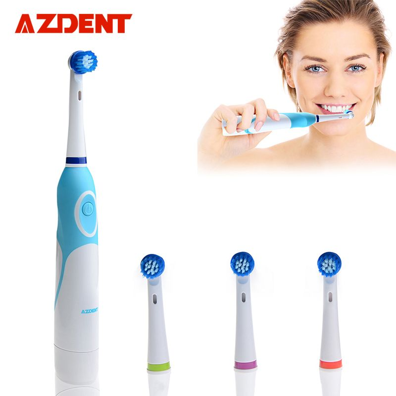 AZDENT <font><b>Rotating</b></font> Electric Toothbrush Battery Operated with 4 Brush Heads Oral Hygiene Health Products No Rechargeable Tooth Brush