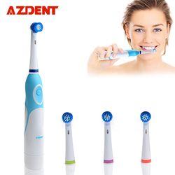 Azdent giratoria Cepillos de dientes eléctricos batería operado con 4 Cepillos cabezas artículos de higiene bucal productos de salud dientes recargable Cepillos