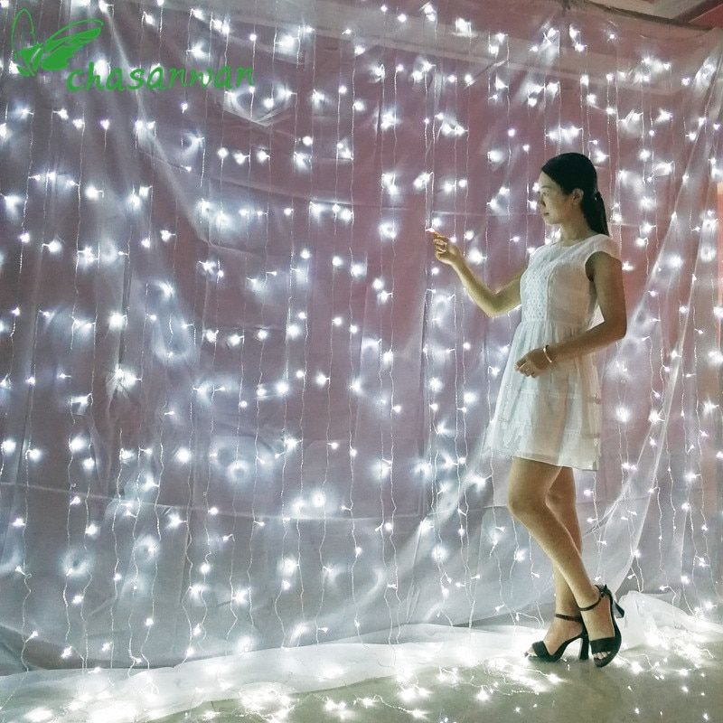 CHASANWAN 3 * 3m 300 Stars Curtain Waterfall Lights Christmas Decorations for Home New Year's Ornaments New Year Christmas Decor