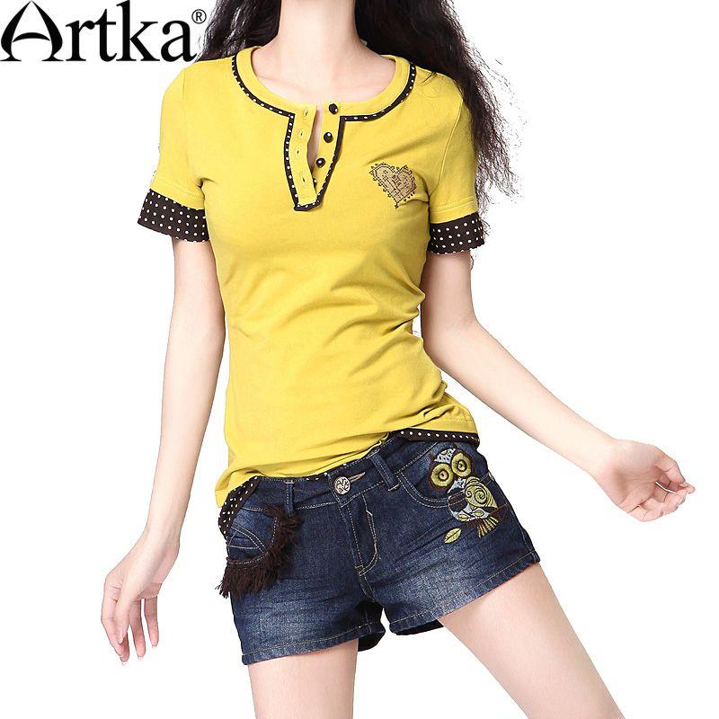 Artka  Women'S Formal Style Short Regular Sleeves O-Neck Cross Embroidery All-Match Parent-Child Cotton T-Shirt  TA10033X